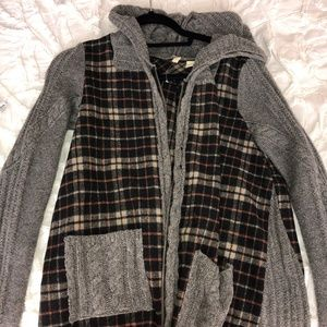LF Plaid/Gray Cardigan Zip Up with Hoodie
